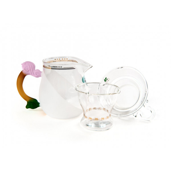 Набор из жаропрочного стекла для заваривания чая Лето с матовыми вставками