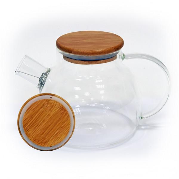 Бочонок (деревянная крышка) чайник из жаропрочного стекла 900 мл