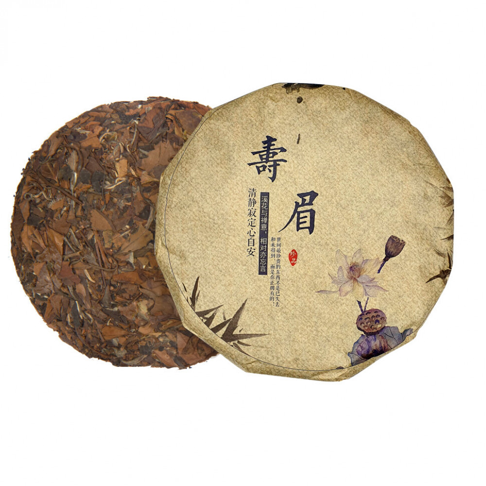 "Белый чай блин 357 г ""Шоу Мей"" (фаб. Юкоу, Фудин 2015 г.)"
